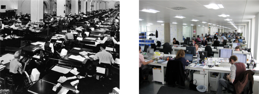 Office work, then and now