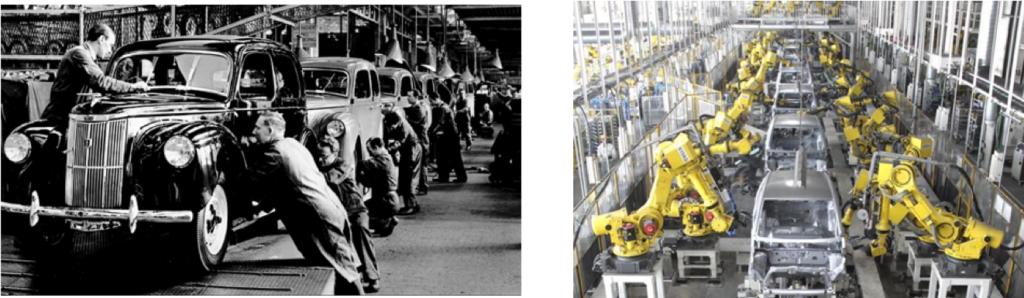 Car production line - then and now